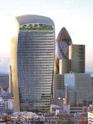 "Rafael Vinoly修改后的伦敦""对讲机""大厦更富曲线美"