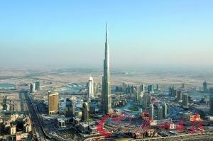 世界第一高楼迪拜塔鸟瞰图