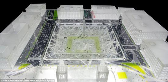 摩地大楼将建在墨西哥首都心脏地带,覆盖摩地楼的玻璃板面积占地240米×240米