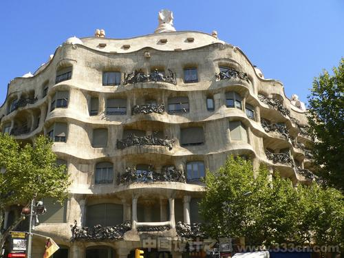 Casa Milà Barcelona, or La Pedrera, by Antoni Gaudí in Barcelona, Spain