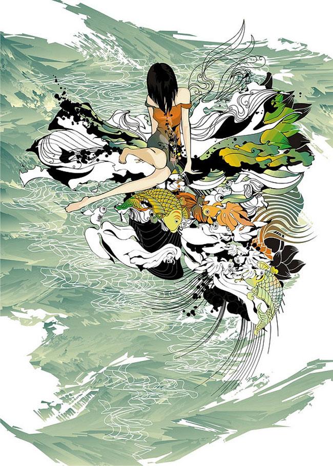 zhangjing古典风格插画作品 第五届中国国际设计艺术博览会