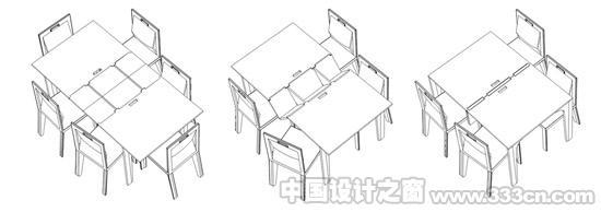 桌椅手绘图一套