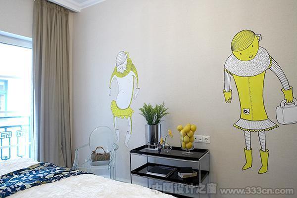希腊设计师可爱的墙体插画
