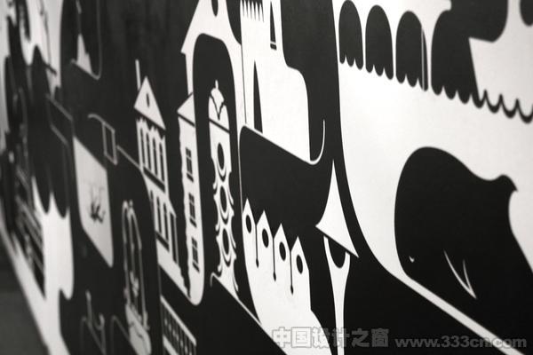 黑白配 手绘风咖啡馆室内设计