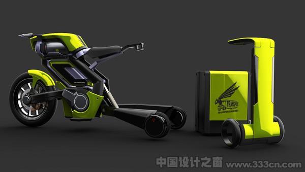 压缩空气动力环保短途自行车--中国设计之窗