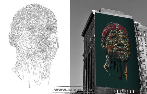 德国艺术家 耐克 LOGO 勾画 人物肖像
