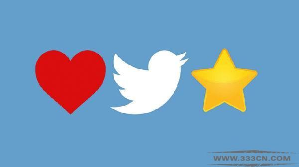 Twitter 社交媒体 金色五角星形 红色心形 Favorite