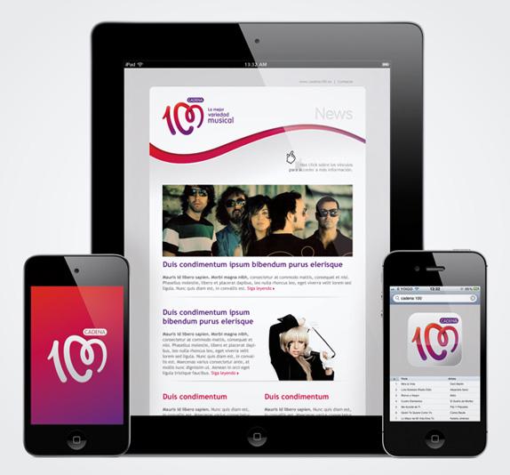 cadena100 ipad 西班牙人气电台Cadena 100换新品牌Logo