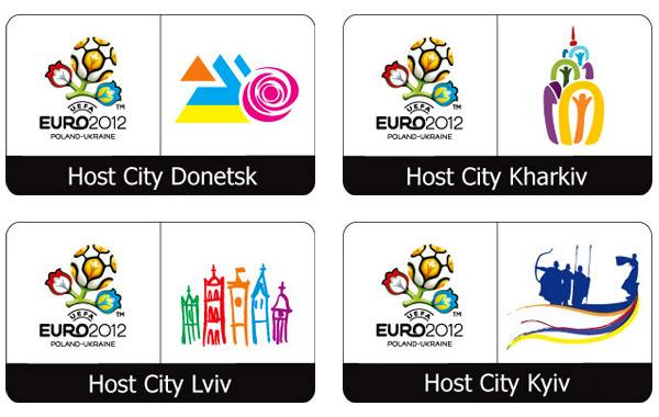host city logos em 2012 ukraine 2012年欧洲杯各主办城市组合标志
