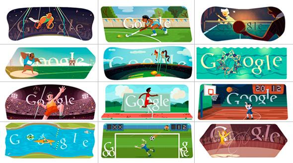 伦敦奥运会谷歌不同主题涂鸦合辑