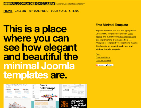 Yellow Website Showcase - Joomla Mini