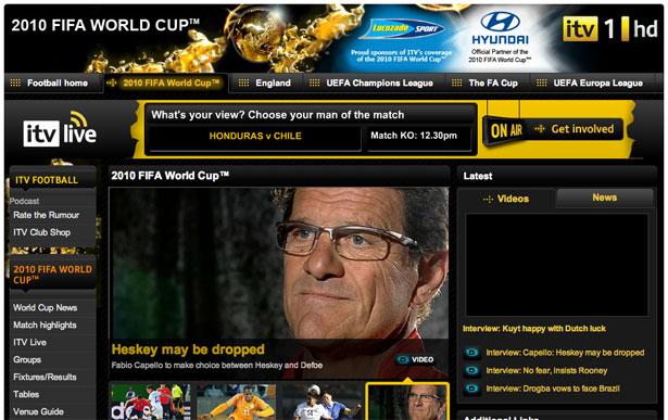 交互设计 网页设计 界面设计 2010世界杯 南非-ITV Fifa World Cup