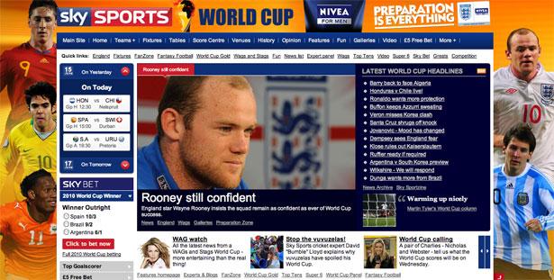 交互设计 网页设计 界面设计 2010世界杯 南非-Sky Sports World Cup 2010